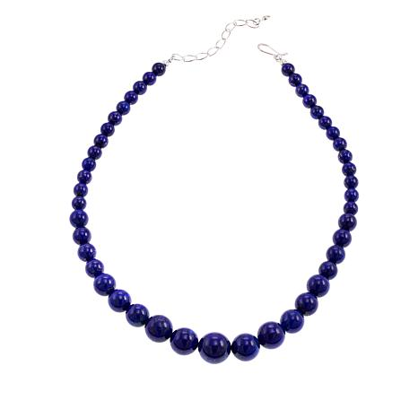 """Jay King Lapis Bead Graduated 18-1/4"""" Sterling Silver Necklace"""