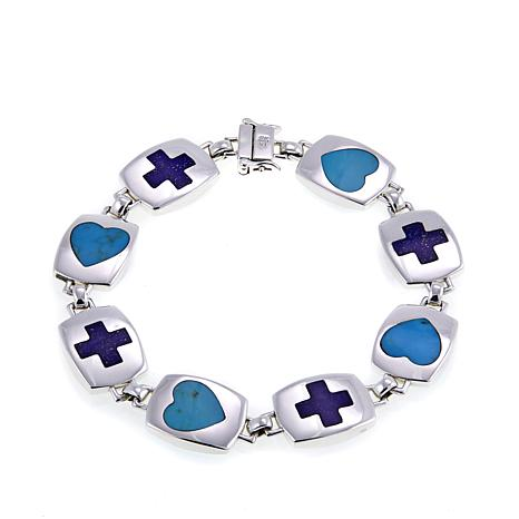 "Jay King Lapis Cross and Turquoise Heart 7-1/4"" Bracelet"
