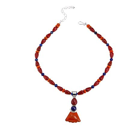 """Jay King Lapis, Red and Orange Coral Pendant with 18"""" Beaded Necklace"""