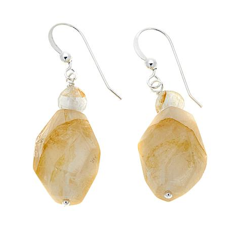 Jay King Madagascar Sunshine Quartz Bead Drop Sterling Silver Earrings
