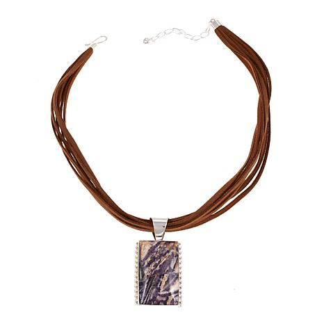 """Jay King Mongolian Fluorite Pendant with 18"""" Suede Necklace"""