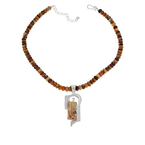 Jay King Multi-Color Crazy Lace Agate Pendant with Necklace