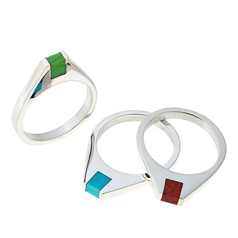 Jay King Multi Turquoise and Coral Sterling Silver 3-piece Ring Set