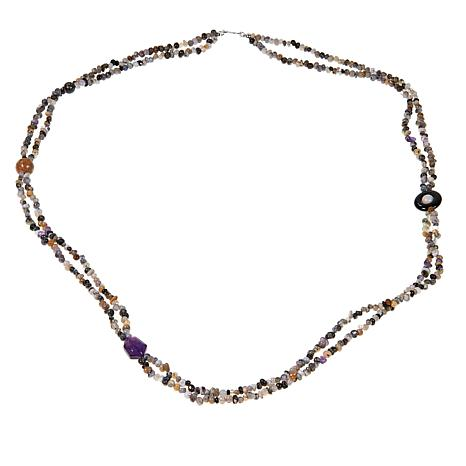 "Jay King Multicolor Agate and Amethyst 36"" Necklace"