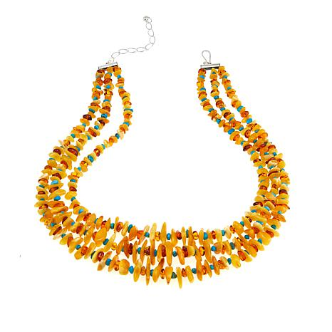 """Jay King Multicolor Amber and Turquoise Chip 18"""" Necklace"""