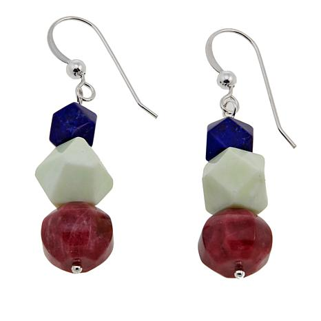 Jay King Multicolor Multigem Bead Drop Sterling Silver Earrings