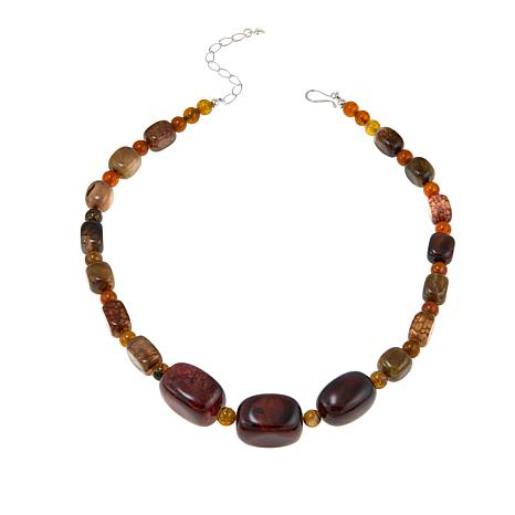 "Jay King Multicolored Agate Bead 20-1/4"" Sterling Silver Necklace"