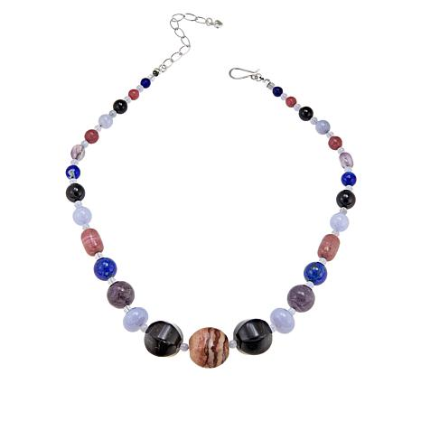 """Jay King Multicolored Multigemstone 18"""" Sterling Silver Necklace"""