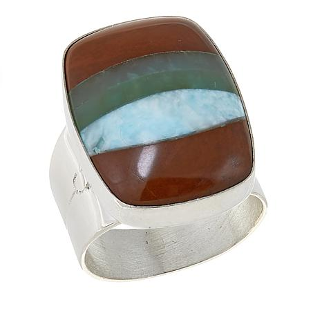 Jay King Multicolored Multigemstone Inlay Sterling Silver Ring