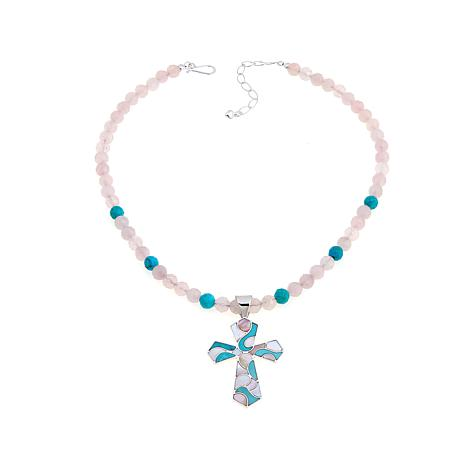 Jay King Multigem Inlay Cross Pendant with Necklace