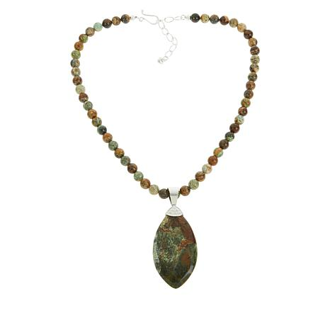 Jay King Opalized Green Serpentine Pendant with Bead Necklace