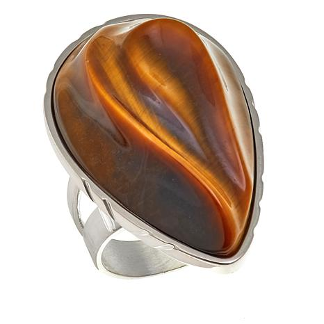 Jay King Pear-Shape Tiger's Eye Sterling Silver Ring