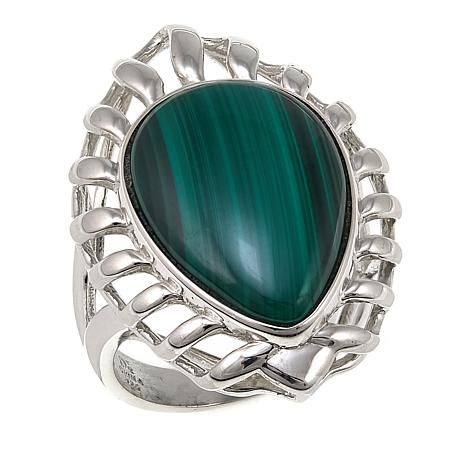Jay King Pear-Shaped Malachite Sterling Silver Ring ...