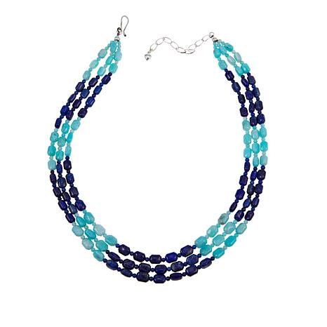 "Jay King Peruvian Amazonite and Dark Blue Lapis 3-Strand 18"" Necklace"