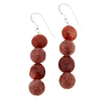 Jay King Picante Agate and Strawberry Quartz Bead Drop Earrings