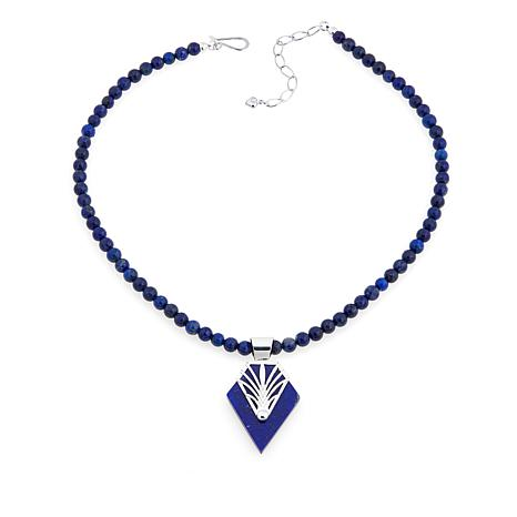 "Jay King Pointed Lapis Pendant with 18"" Necklace"