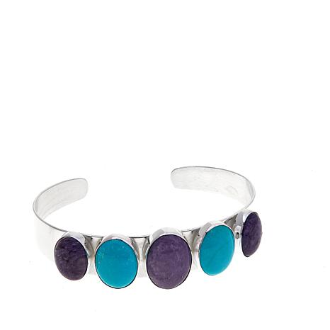 Jay King Purple Charoite and Turquoise Cuff Bracelet