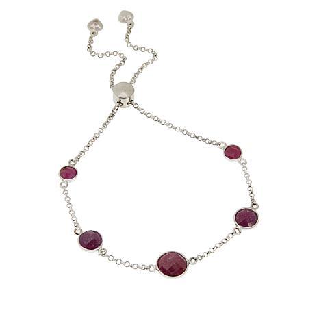 "Jay King Raspberry Sapphire 10"" Chain Bracelet"