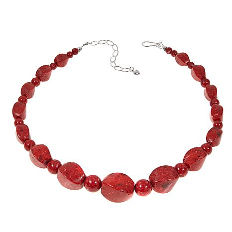 "Jay King Red Coral Bead Sterling Silver 18"" Necklace"