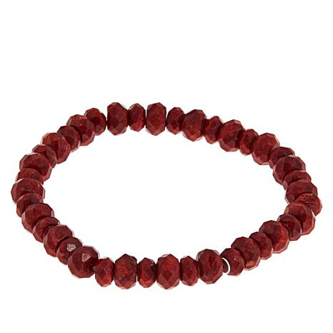 Jay King Red Coral Bead Stretch Bracelet