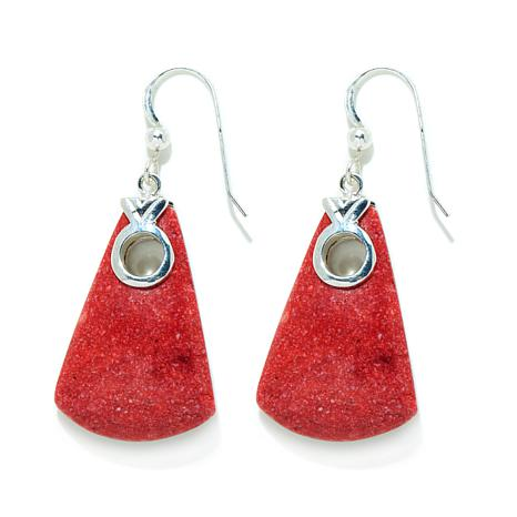 Jay King Red Coral Drop Sterling Silver Earrings