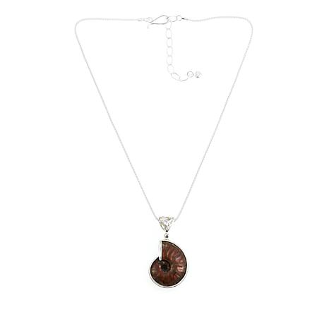 """Jay King Red Iridescent Ammonite Pendant with 18"""" Chain"""
