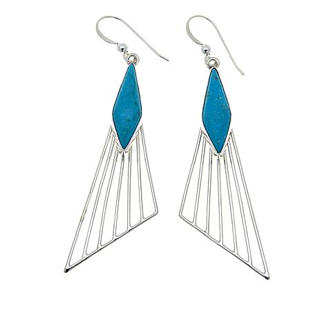 Jay King Red Skin Turquoise Sterling Silver Drop Earrings