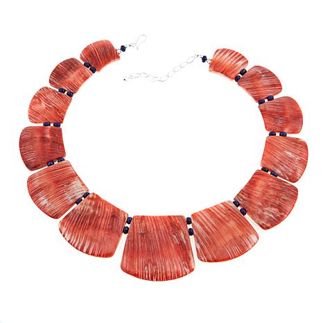 "Jay King Red Spiny Oyster Shell and Lapis 17"" Sterling Silver Necklace"