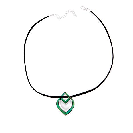 Jay King Reversible Turquoise Pendant with Black Suede Necklace