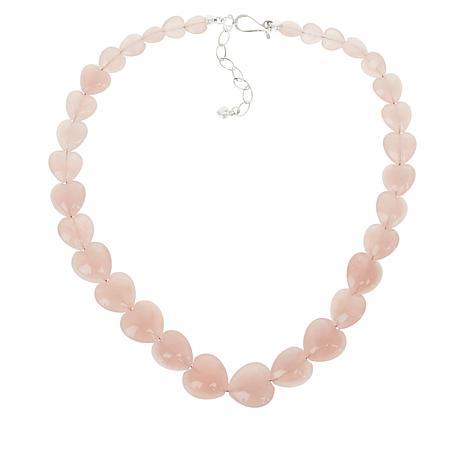 Jay King Rose Quartz Heart-Shaped Bead Necklace