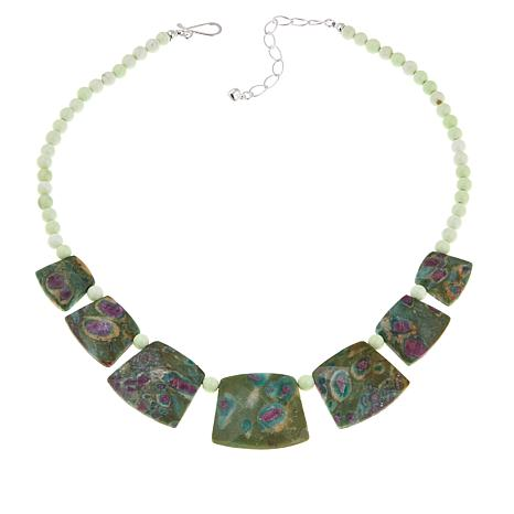 """Jay King Ruby in Fuchsite and African Gaspeite Bead 18-1/4"""" Necklace"""