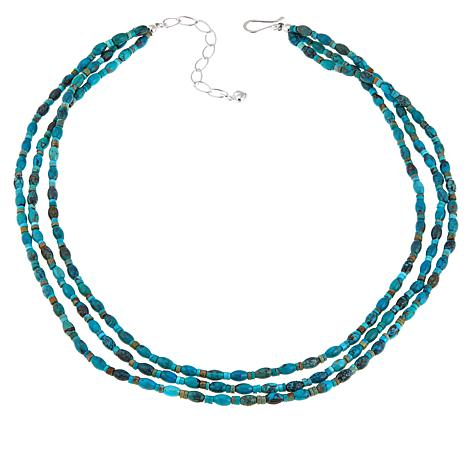 "Jay King Seven Peaks Turquoise 3-Strand Sterling Silver 18"" Necklace"