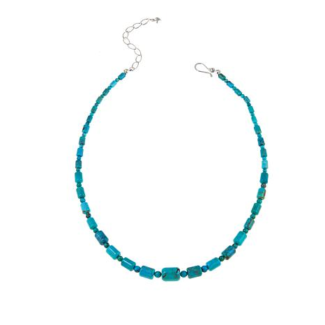 """Jay King Seven Peaks Turquoise Bead 18-1/4"""" Sterling Silver Necklace"""