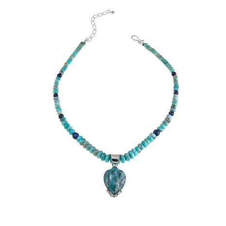 """Jay King Smoky Graphical Amazonite Pendant with 18"""" Beaded Necklace"""