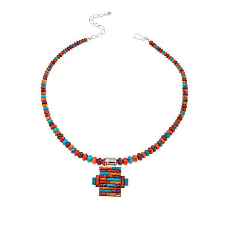 Jay King Spiny Oyster and Seven Peaks Turquoise Bead Pendant Necklace