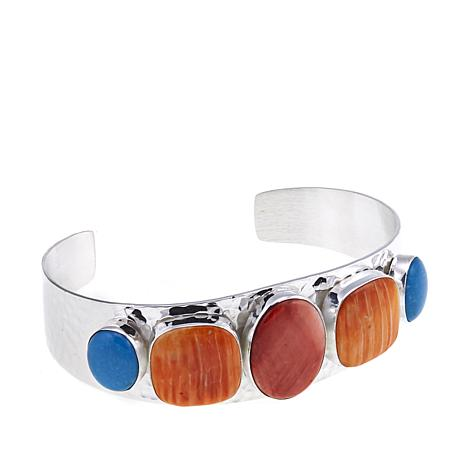 Jay King Spiny Oyster and Turquoise Sterling Silver Cuff Bracelet