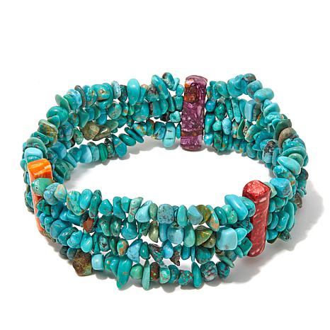 Jay King Spiny Oyster and Turquoise Stretch Bracelet