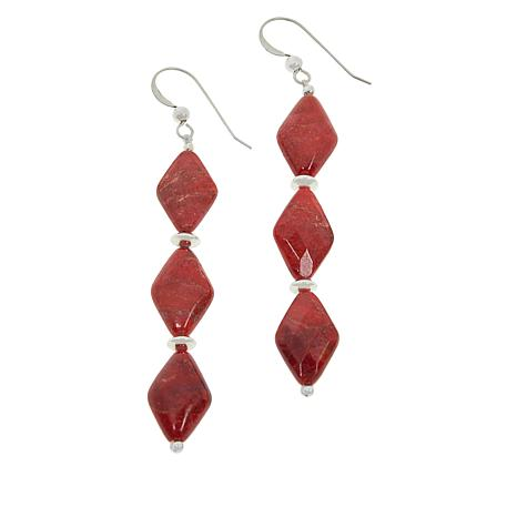 Jay King Sterling Silver 3-Stone Red Coral Drop Earrings