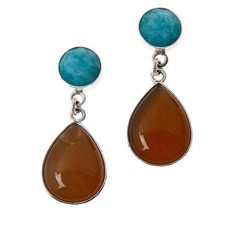 Jay King Sterling Silver Amazonite and Orange Opal Drop Earrings
