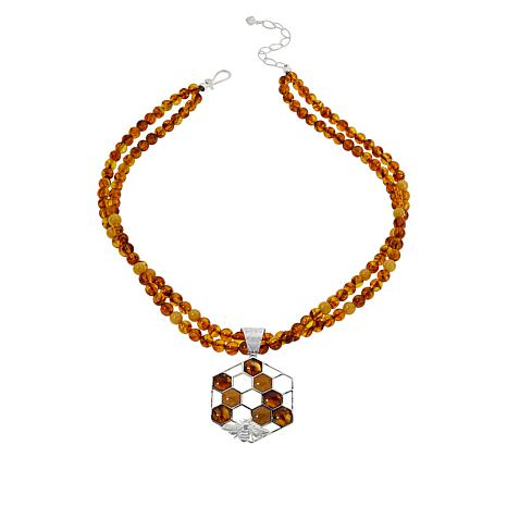 Jay King Sterling Silver Amber Honeycomb Pendant with Necklace