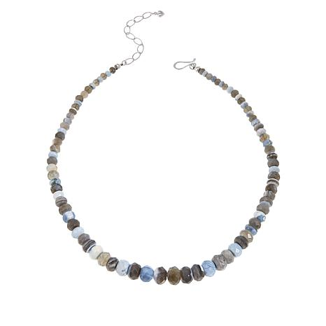 Jay King Sterling Silver Banded Blue Opal Bead Necklace