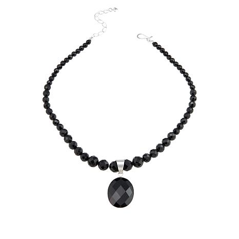 """Jay King Sterling Silver Black Tourmaline Pendant with 18"""" Necklace"""