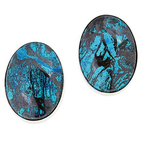 Jay King Sterling Silver Blue Forest Stone Oval Earrings