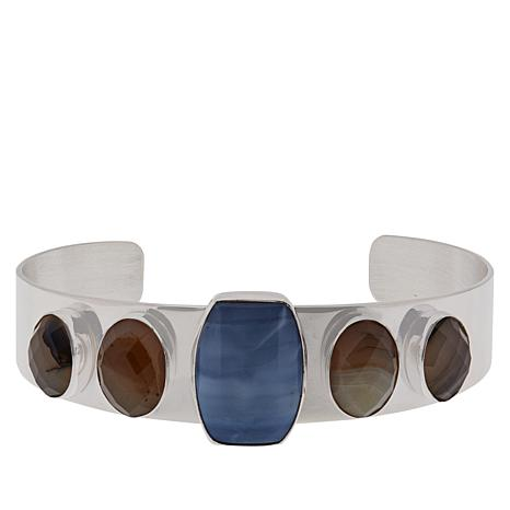 Jay King Sterling Silver Blue Opal and Multi-Color Agate Cuff Bracelet
