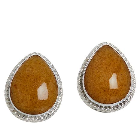 Jay King Sterling Silver Butterscotch Amber Pear-Shape Earrings