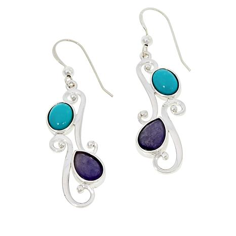 Jay King Sterling Silver Campitos Turquoise and Tanzanite Earrings