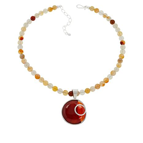 Jay King Sterling Silver Carnelian Pendant with Beaded Necklace