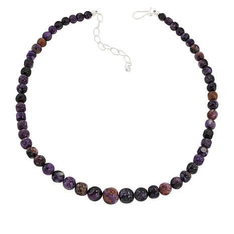 Jay King Sterling Silver Charoite Bead Necklace