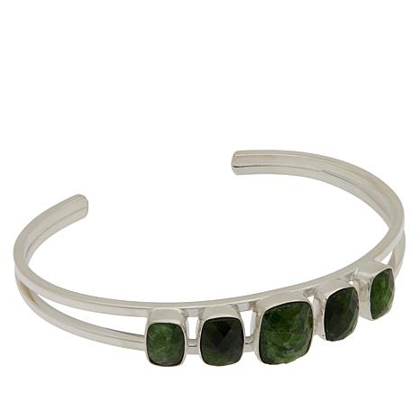 Jay King Sterling Silver Chrome Diopside 5-Stone Cuff Bracelet