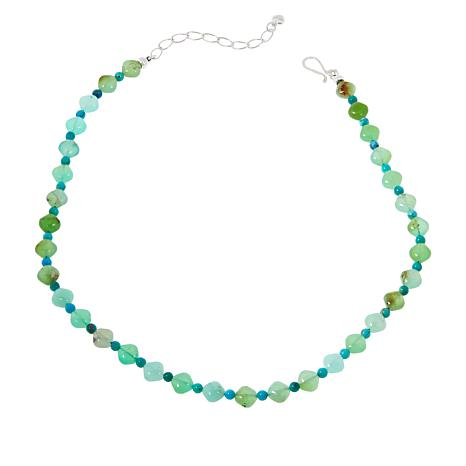 Jay King Sterling Silver Chrysoprase and Turquoise Bead Necklace